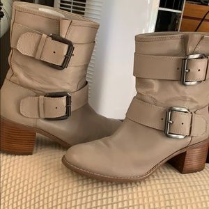 Leather big buckle chunky heel boots women. 8.5